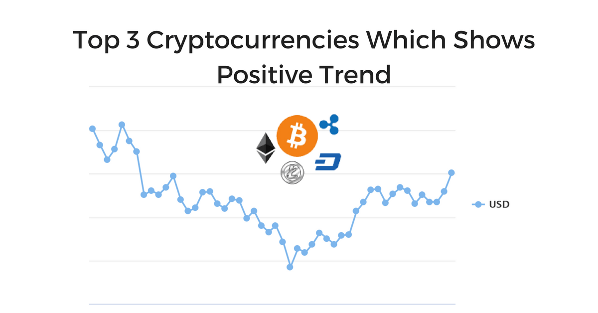 Top 3 cryptocurrencies which shows positive trend